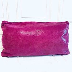 LEATHER ACCENT PILLOW - textured vibrant and fun